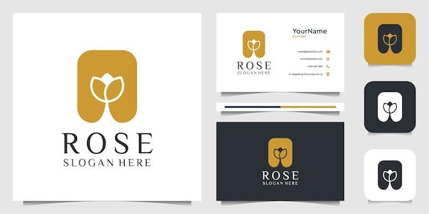 ローズのロゴのイラストデザイン。ロゴと名刺 Premiumベクター