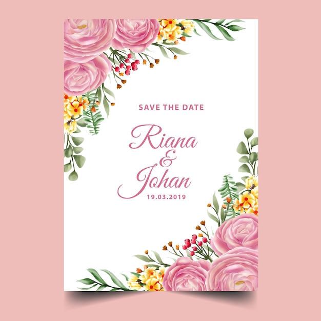 Rose pink watercolor frame background, template Premium Vector
