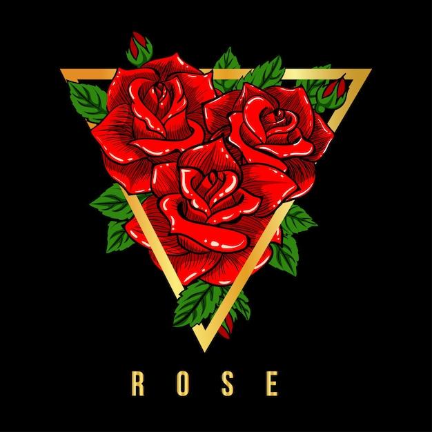 Rose red illustration t-shirt Premium Vector