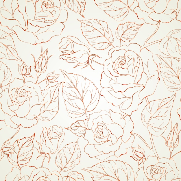 Rose seamless background. Free Vector