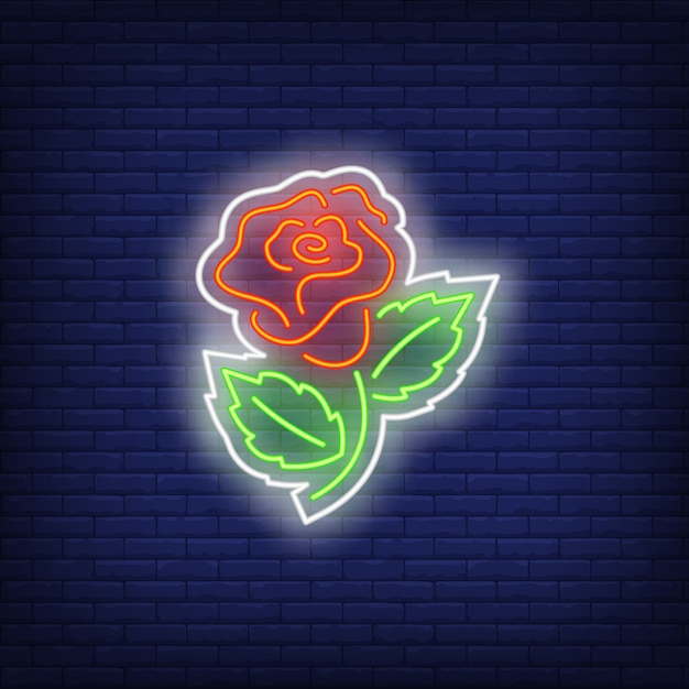 Rose sew-on patch neon sign Free Vector