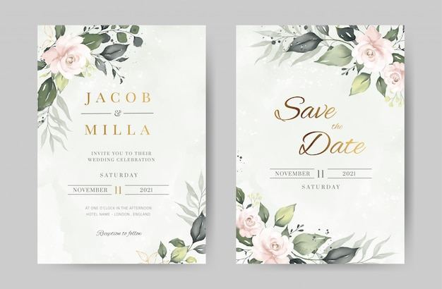 Rose watercolor wedding invitation template. green leave and flower background with gold. greeting card. Premium Vector