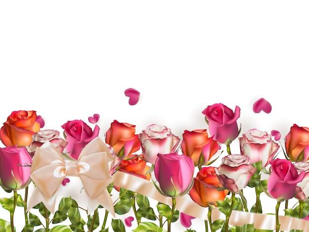 バラと白のハート形の花びら Premiumベクター