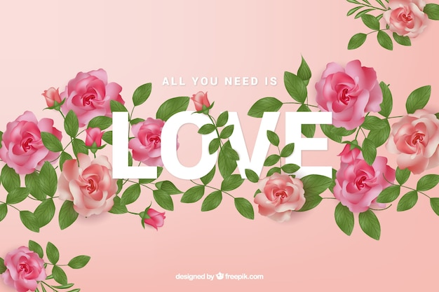Roses background with love word Free Vector