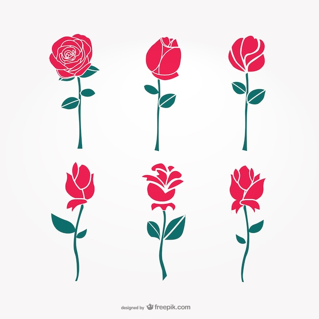 Roses collection Free Vector