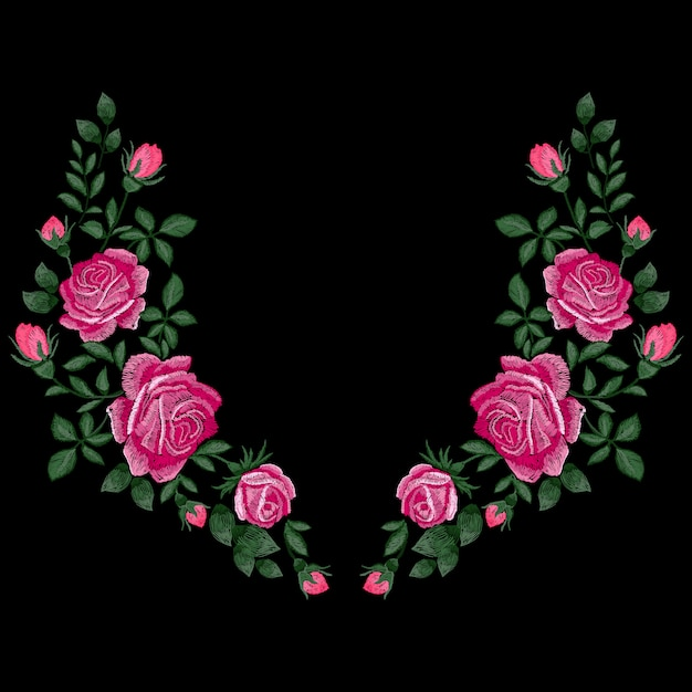 Roses embroidery with leaves and buds. ethnic flowers neck line, flower design, graphics fashion wearing. embroidery for t-shirt. satin stitch imitation, . Premium Vector