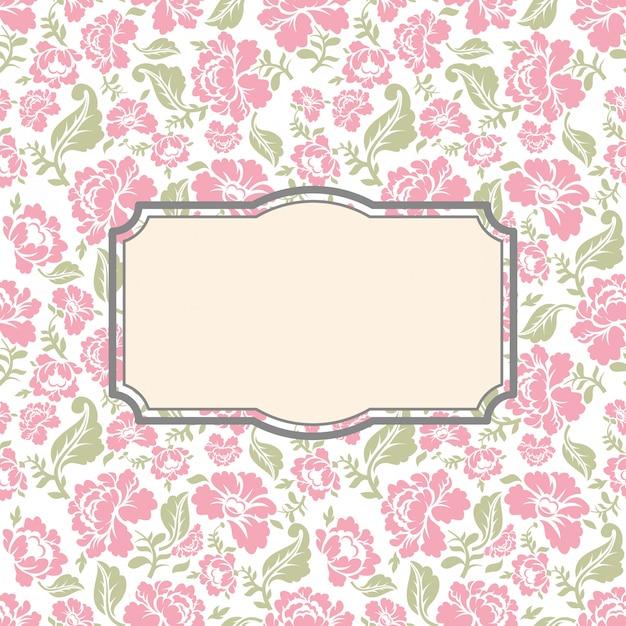 Roses floral vintage background with frame Premium Vector