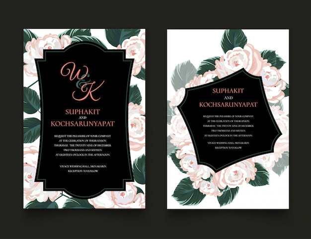 Roses frame for invitation cards and graphics. Premium Vector