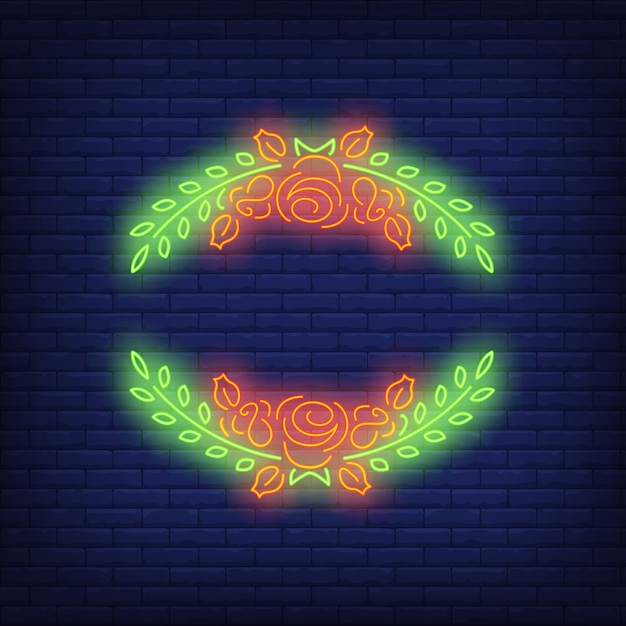 Roses frame neon sign Free Vector