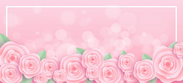 Roses frame in paper cut style Premium Vector