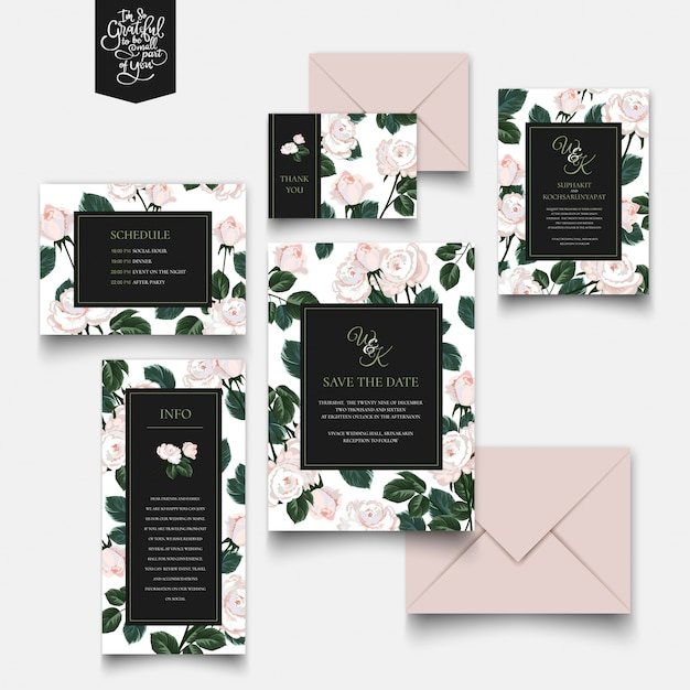 Roses invitation card and letter collection. Premium Vector