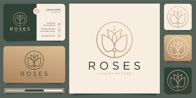 バラのラインアートスタイル。花の高級美容院、ファッション、スキンケア、化粧品、自然、スパのproducts.logoと名刺のテンプレート。 Premiumベクター