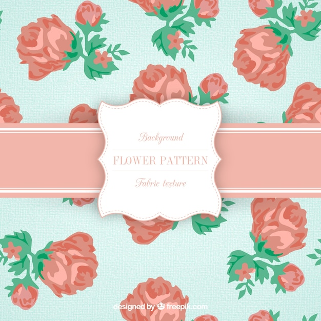 Roses pattern in lovely style Free Vector
