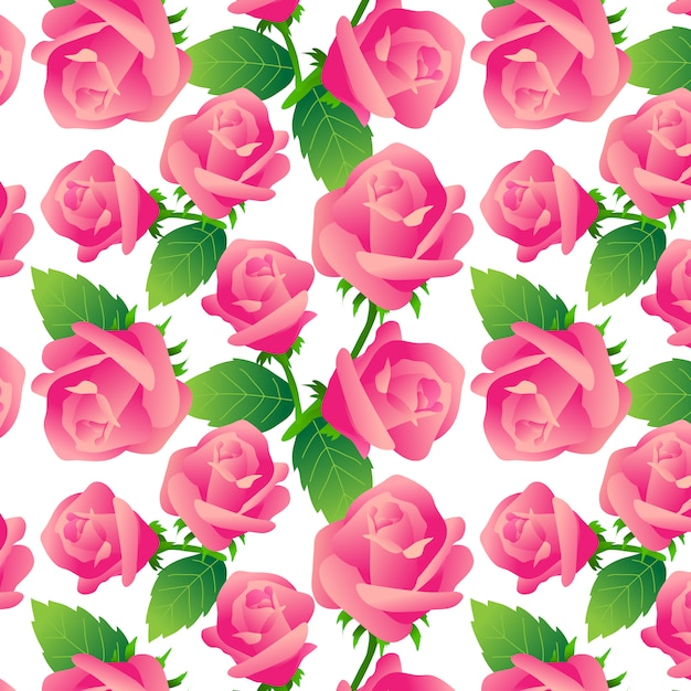 Roses pattern on white background Free Vector