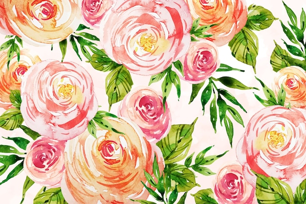 Roses with leaves watercolour background design Free Vector