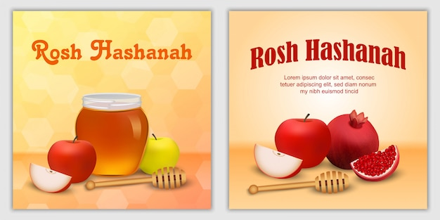 Rosh hashanah jewish holiday apple honey banner concept set Premium Vector