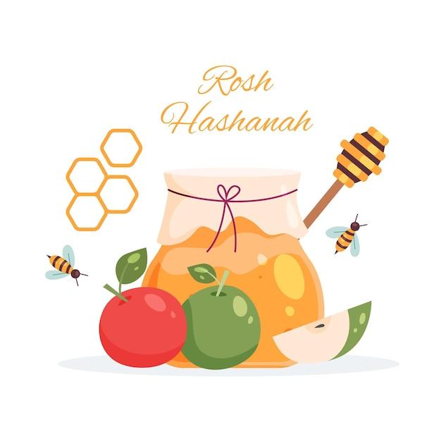 Rosh hashanah con miele e mele Vettore gratuito