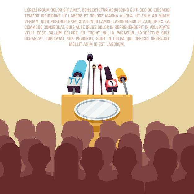 Rostrum, tribune with microphones in spotlight on stage illustration. Premium Vector