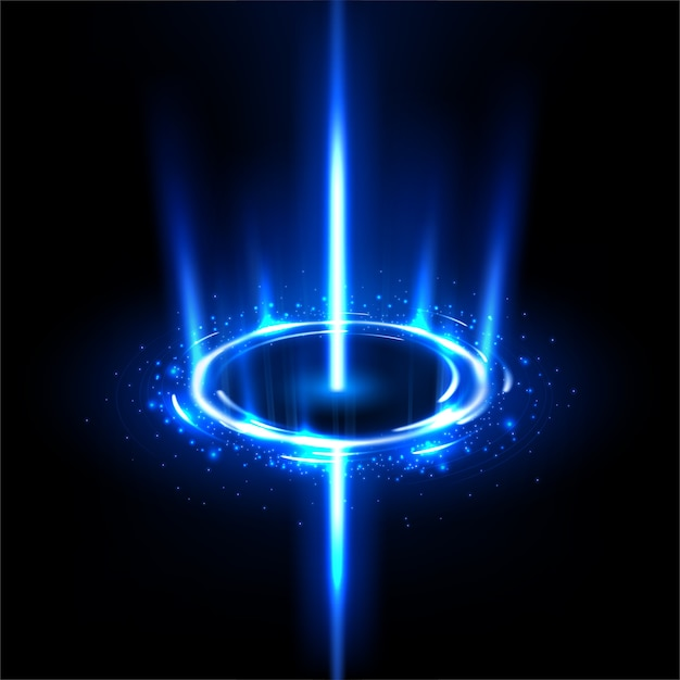 Rotating blue rays like a black hole with sparkles Premium Vector
