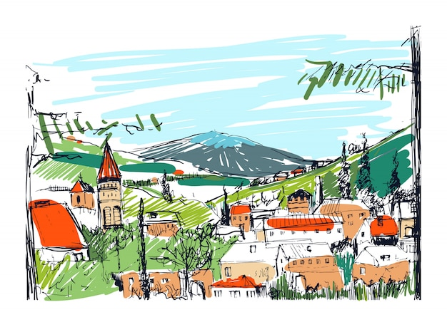 Rough colorful sketch of small ancient georgian town, buildings and trees against high mountains on background. freehand drawing of landscape with settlement located on hillside. illustration. Premium Vector