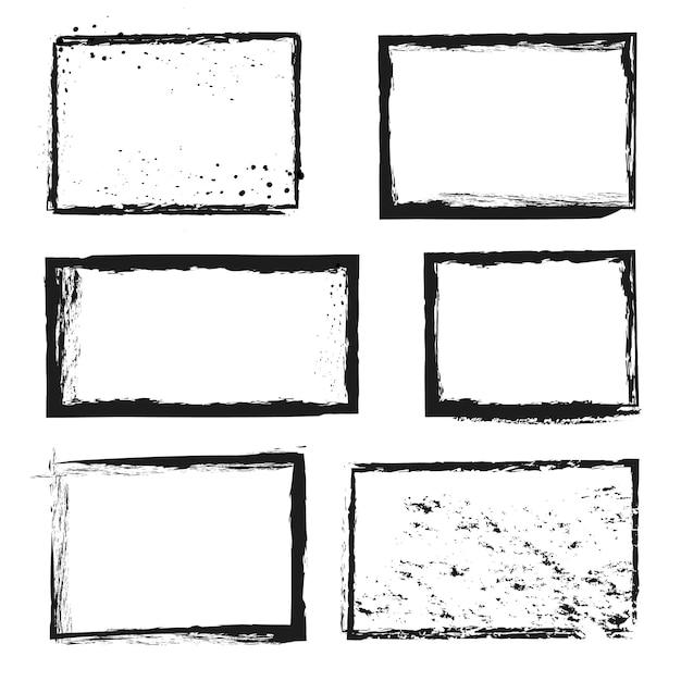 Грубый гранж проблемных чернил векторных изображений бордюров Premium векторы