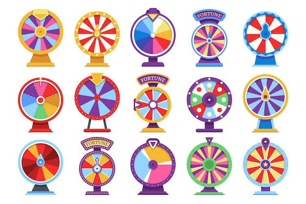 Roulette fortune spinning wheels flat icons casino money games - bankrupt or lucky vector elements Premium Vector