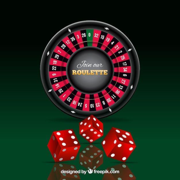 Roulette and red dice Free Vector