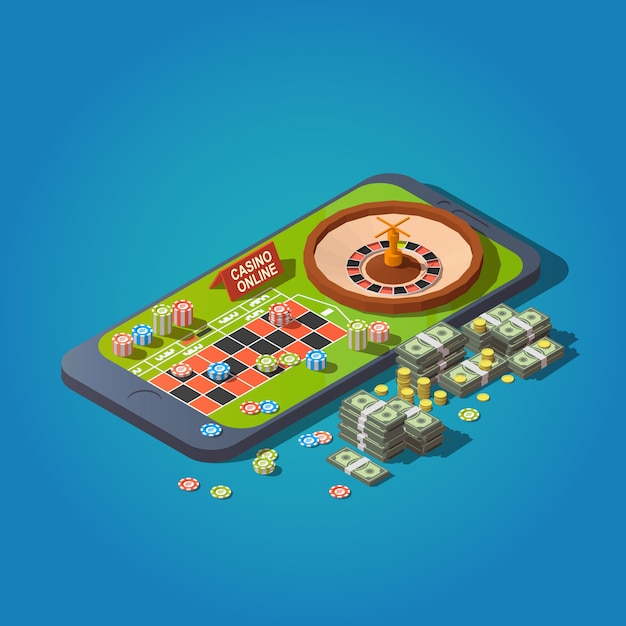 Roulette table, chips, bundles of banknotes and coins at smartphone. online casino concept Premium Vector