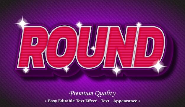 Round 3d editable text style effect Premium Vector
