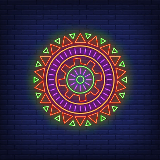 Round african pattern neon sign Free Vector
