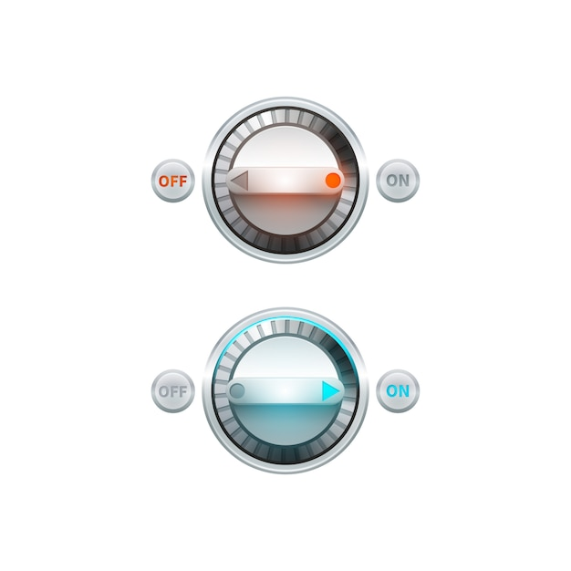 Round analog on off turn button set Free Vector