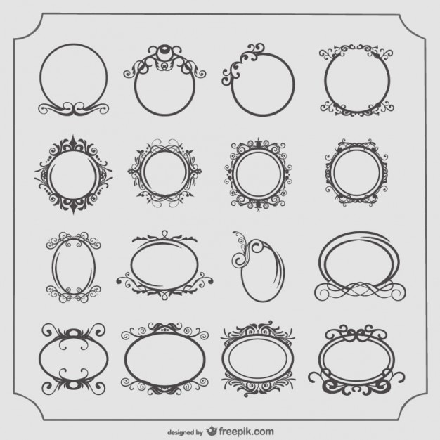 Round and Oval Vintage Frames Set Vector | Free Download