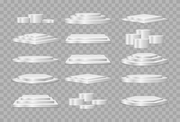 円形と正方形の空のステージと表彰台の階段ベクトル3dテンプレート。製品プレゼンテーション用の表彰台またはプラットフォーム。 Premiumベクター