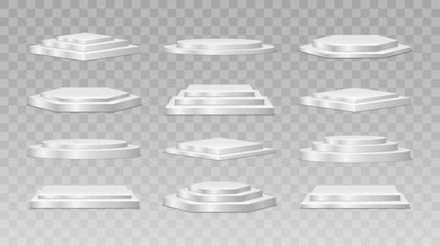 円形と正方形の空のステージと表彰台の階段 Premiumベクター