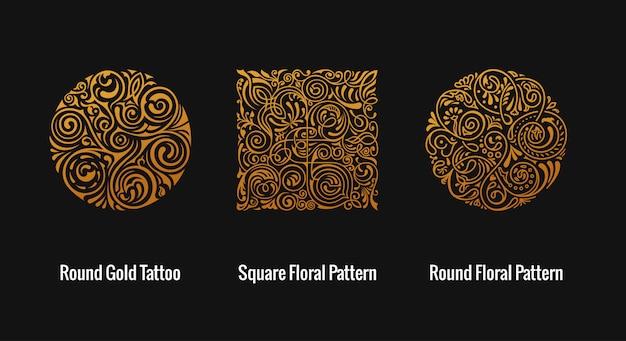 Круглые и квадратные золотые цветочные узоры Premium векторы