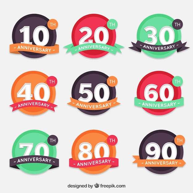 Round anniversary labels collection Free Vector