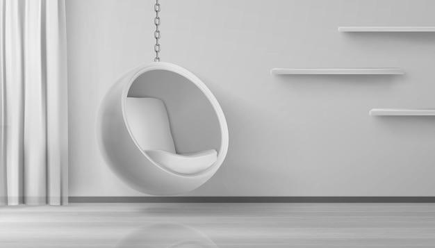 Круглое кресло на цепочке в домашнем интерьере Бесплатные векторы