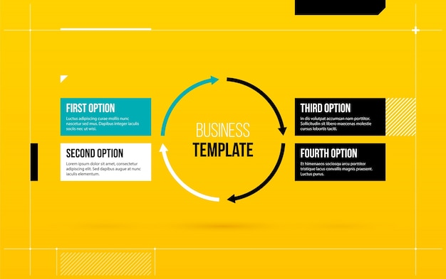 Round arrows template with four options on yellow background in round arrows template with four options on yellow background in elegant blueprint style premium vector malvernweather Gallery