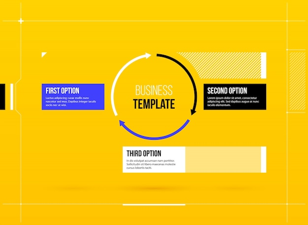 Round arrows template with three options on yellow background in round arrows template with three options on yellow background in elegant blueprint style premium vector malvernweather Image collections