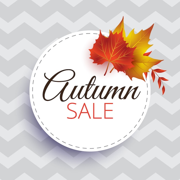 Round autumn sale design template Premium Vector