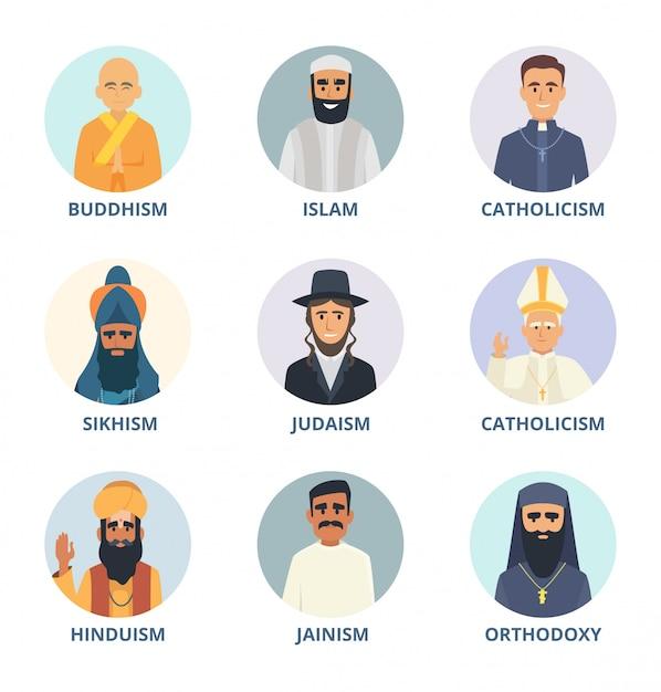 Round avatars set with pictures of religion leaders Premium Vector