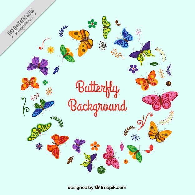 フラットなデザインのカラフルな蝶のラウンド背景 無料ベクター