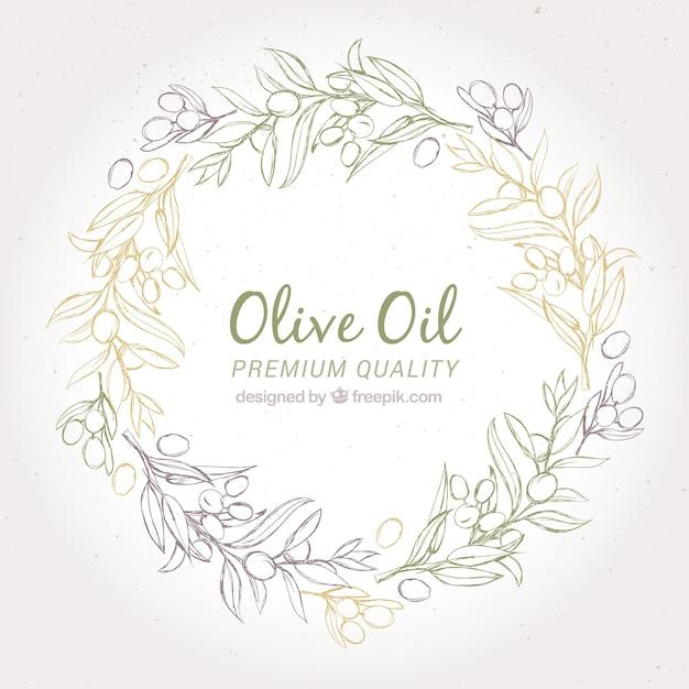 Круглый фон оливковый венок Premium векторы