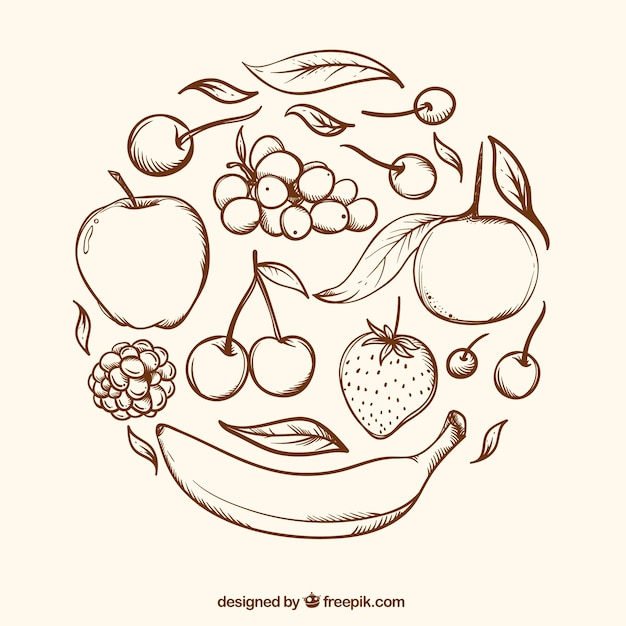 Round background with hand-drawn fruits Free Vector