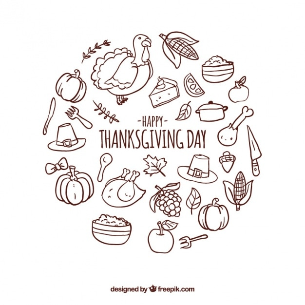 Round background with thanksgiving items Free Vector