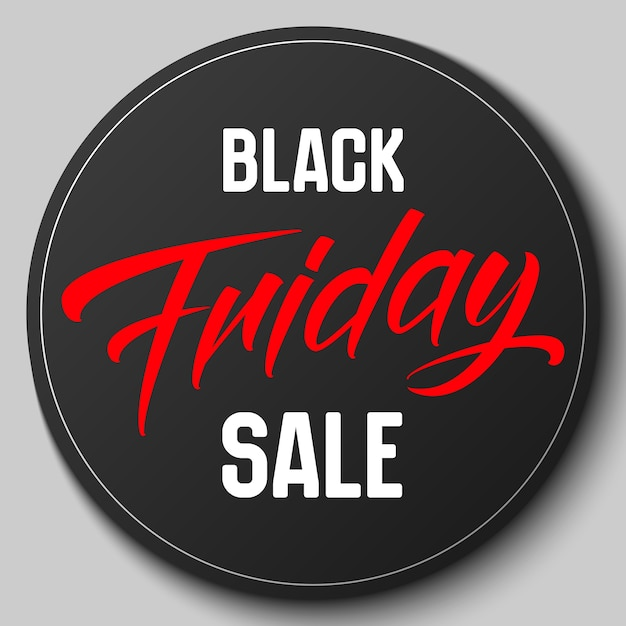 Round badge with black friday sale vector illustration Free Vector