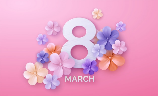Round banner with the logo for the international women's day on pink background. Premium Vector