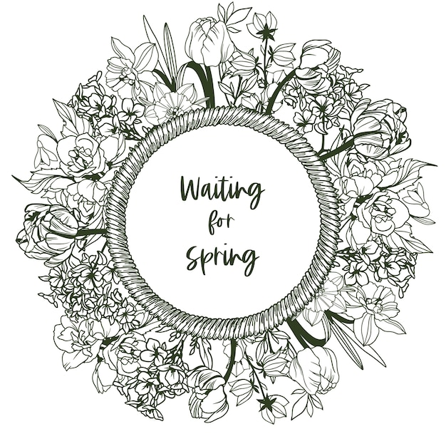 ロープフレームと小さな春の花が付いた丸いバナー-水仙、スノードロップ、チューリップ、スズラン。手描きイラスト。 Premiumベクター