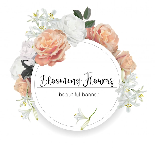 Round banner with roses vector illustration Premium Vector