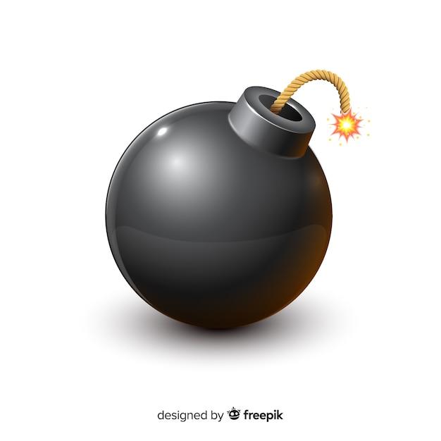 円形の黒い爆弾のリアルなスタイル 無料ベクター